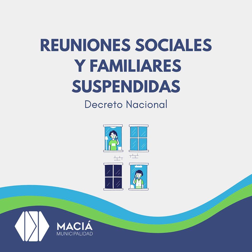 REUNIONES SOCIALES Y FAMILIARES SUSPENDIDAS