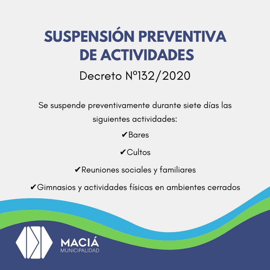 RESTRICCIÓN DE ACTIVIDADES ANTE EL CASO CONFIRMADO DE COVID-19