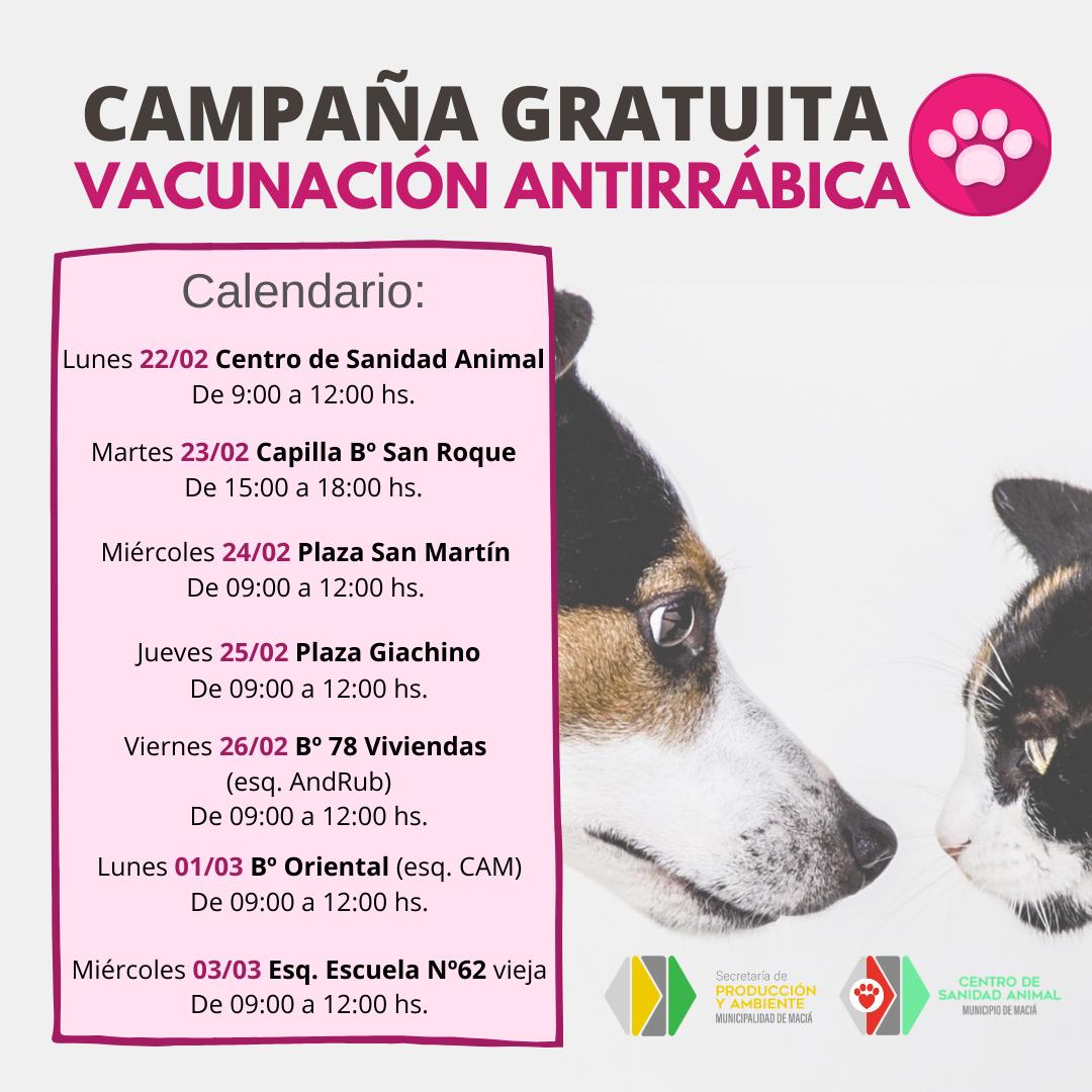 COMIENZA LA CAMPAÑA GRATUITA DE VACUNACIÓN ANTIRRÁBICA